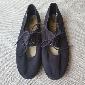 Black Keds Lace Up Ballet Flats
